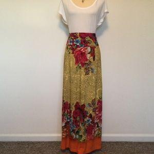 🌺 Gorgeous Vibrant Bright Colors Maxi Skirt Med.